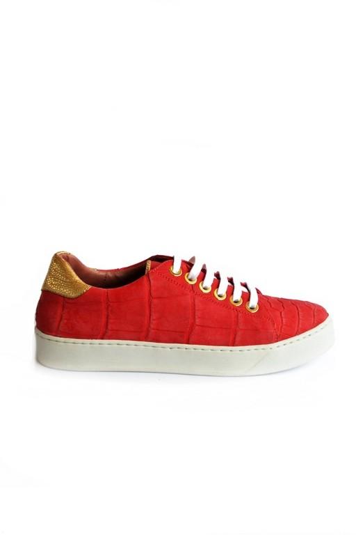 Croco platform sneakers red