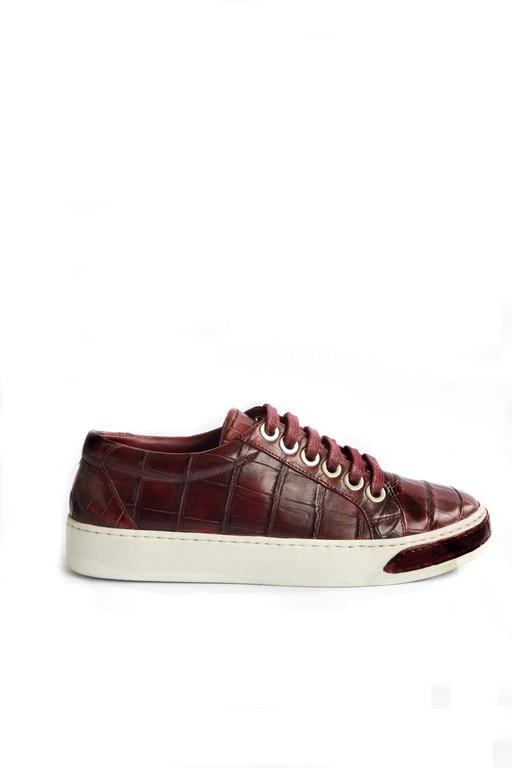 Croco platform sneakers bordo